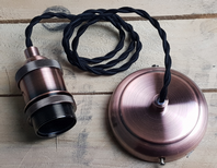 Antique Copper with Black Twisted Flex E27 Lighting Kit